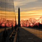 Washington Monument and Vietnam Memorial Wall at Sunrise
